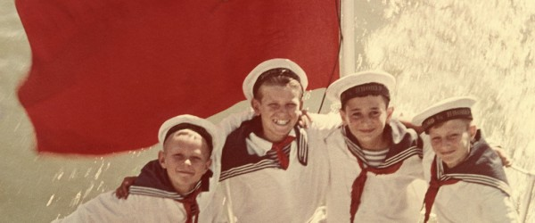 Yakov Khalip Sea cadets. End of 1940s Artist's colour print On the reverse side text of congratulation to Alexander Rodchenko Collection of Moscow House of Photography Museum © Moscow House of Photography Museum